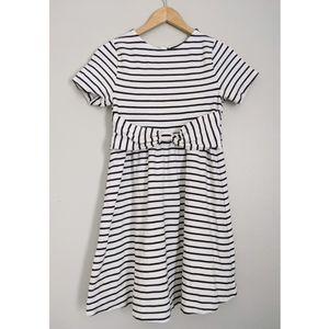 Kate Spade Kammy Bow Dress Black White Stripe 14